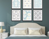 Ikat and Geometric Patterns (Series G6) Set of 6 - Art Prints (Featured in Glacier, Cream and Silver Cloud) Blue Ikat Wall Art