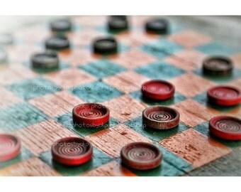 "12"" x 18"" Rustic checkers  Canvas Print"