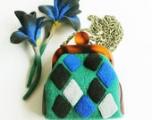 Wool felt mini bag with plaid, sling shoulder bag and purse