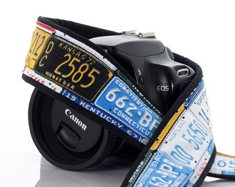 Camera Strap, dSLR, Canon Camera Strap, Nikon Camera Strap, License Plates, Mens Camera Strap, Photographer Gift, Camera strap, 167 a