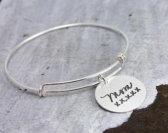 Silver Handwriting Bangle Bracelet, Signature Bangle Bracelet, Sterling Silver, Layering Bracelet, Remembrance Bracelet, Memorial Jewelry