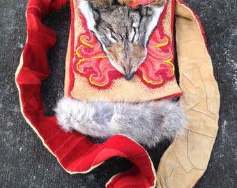 Coyote Brings Fire - Bead Embroidered Medicine Bag