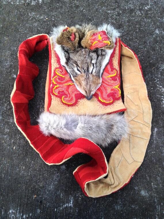 Bead Embroidered Deer Hide, Red Wool and Coyote Fur Medicine Bag With Fire Motif - OOAK