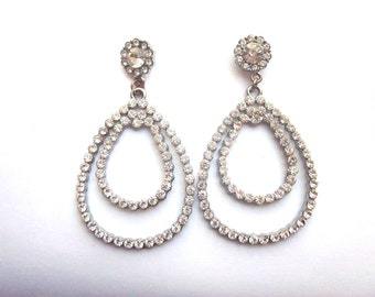 Rhinestone Hoop Dangle Earrings Wedding Crystal Jewelry