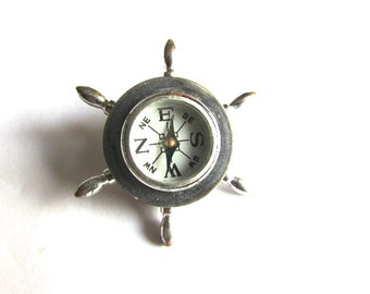 Vintage Compass Ships Wheel Silver Tone Glass Steampunk Assemblage Jewelry Supply Nautical Working