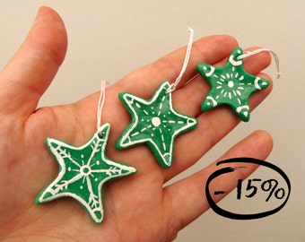 Green stars for Christmas tree. Cornstarch clay ornaments painted in white DISCOUNT - 15%