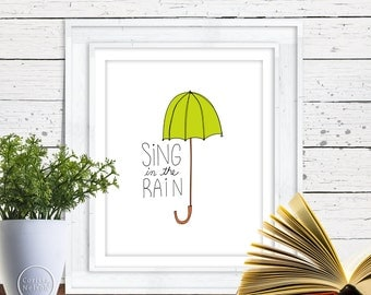 Sing in the Rain Chartreuse Umbrella 8x10 Instant Printable