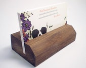 Wooden Business Card Holder - Black Walnut - Hand Shaped - 14th