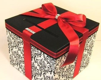 Wedding Card Box Damask and Red/Scarlet Gift Card Box Money Box Holder--Customize your color (10x10x9)