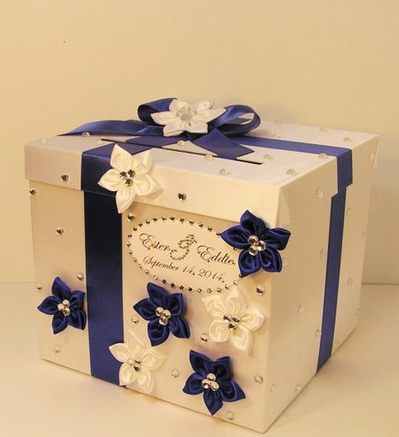 Royal Wedding Gifts: Wedding Card Box Royal Blue And White Gift Card Box Money Box