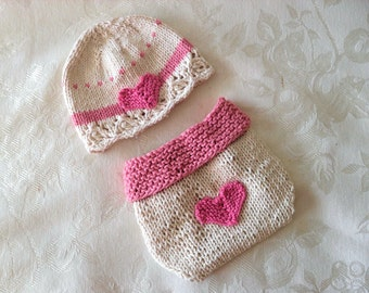 Hand Knitted Baby HAT and  DIAPER COVER, Valentine Hat and Diaper Cover cotton knitted baby hat Hat with Heart Baby Hat Knitted Baby Beanie