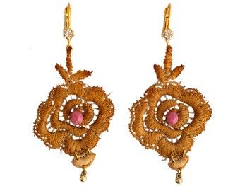 wedding gold lace earrings