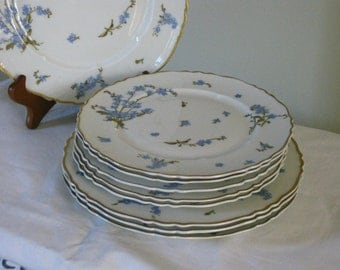 Vintage Haviland Limoges China Montmery Pattern France, Dinnerware Set of 9 Plates, Blue Forget Me Nots Gold Scalloped Rim, Luncheon Salad