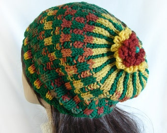 Woman's Colorful Winter Hat Women's Striped Hat Fall Colors Hat Green Rust Yellow Striped Hat Women's Winter Hat Knit Hat Autumn Color Hat