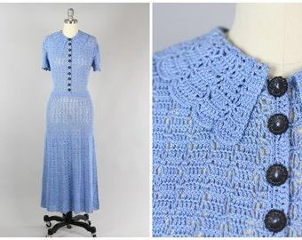 SALE 1930s Hand Crochet Dress in Powder Blue S/M