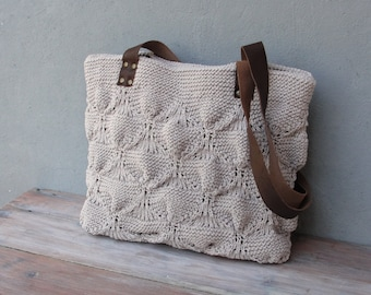 Twine Knitted Leather Tote Natural Bohemian Bag