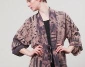 Jasper Johns Purple and Mauve Discharged Silk Screen Kimono Jacket