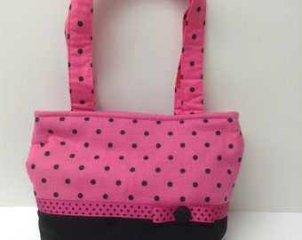 Girl's Pink & Black Polka Dot Purse