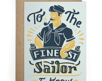 Love Greeting Card - Finest Sailor Notecard, Hand-Lettering Card, I Love You Card