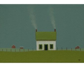 "FARM HOUSE Folk Art Painting STUDY Old Farmhouse 5 x 7"" Barn Country Landscape Cottage Original Fine Art Gift Birthday Country Art Realism"