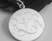 Engravable Sterling Silver Round Charm - 1 inch