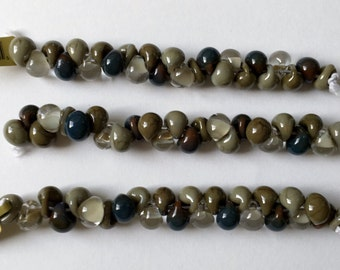 Wren Mix Unicorne Boro Teardrops, 25 Beads per Strand,  Wren Mix Teardrop Beads, Grey Tones Boro Beads, Khaki Mix Lampwork Beads