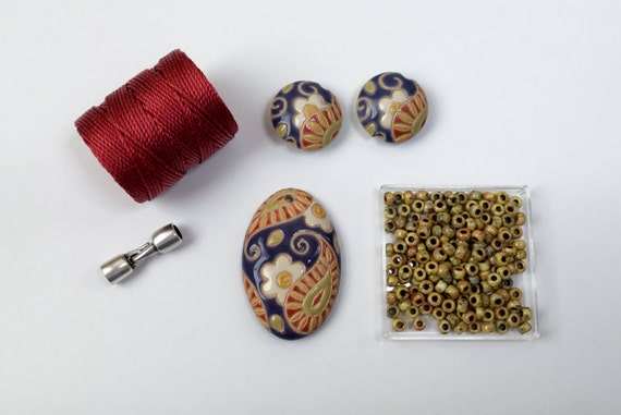Red, White Daisy, Blue Paisley Paritally Beaded Kumihimo Necklace Kit, Golem Design Studio, Tutorial Sold Separately