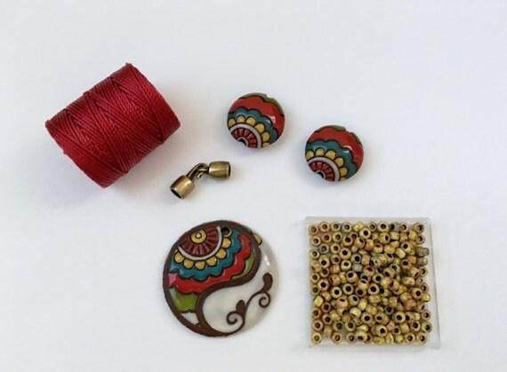 Circus Paisley Paritally Beaded Kumihimo Necklace Kit, Golem Design Studio, Tutorial Sold Separately