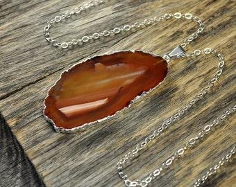 Valentine SALE - Agate Necklace, Brown Agate Necklace, Brown Agate Pendant, Agate Slice Pendant, Agate Slice Necklace, Silver Necklace, S...