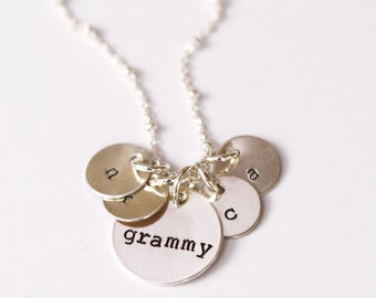 Grammy Necklace, Custom Initial Necklace, Grandmother Necklace, Grandchildren Initial Necklace, Gift for Grandmother, Mother in Law