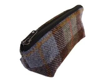 Harris Tweed make-up bag in MacLeod tartan with water-resistant lining