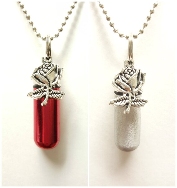 TWO CREMATION URN Necklaces with Silver Roses - One Red & One Brushed Silver - Includes Two Velvet Pouches, Two Ball Chains and Fill Kit