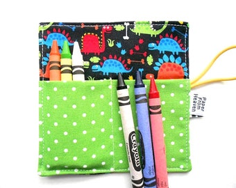 Mini Crayon Roll - Tiny Dino - dinosaur crayon holder, animal party favor, boys gift, dinosaur party