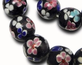 8 pcs Black Floral Glass Beads Lamp Work 12 mm Large Floral Glass B-188