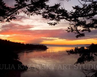 Fine Art Photography Instant digital download Sunset Deception Pass Pacific Ocean landscape photo Pacific Northwest travel photography