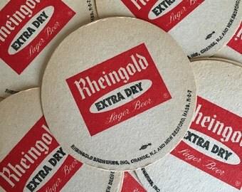 Set of 10 Vintage Rheingold Beer Coasters. Circa 1950s