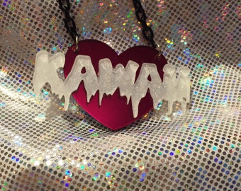 Kawaii Acrylic Heart Necklace