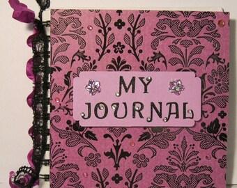 Pink Damask Spiral Bound Altered Notebook