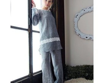 linen sleep shirt or chemise in tunic length - CHARM - made to order and ready to ship