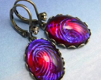 Gothic Earrings- Purple Dragons Breath Opal Earrings- Vintage Wedding art deco earrings