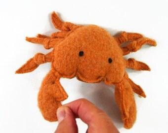 toy crab, stuffed toy, stuffed animal, waldorf toy, waldorf crab, stuffed crab,