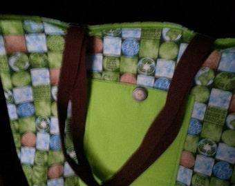 Earth  Day Eco friendly reusable shopping bag  lime green folds away