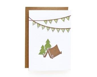 Letterpress Birthday Invitations, Camping - set of 8