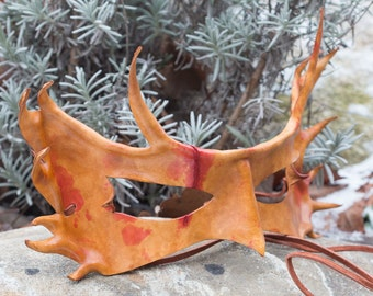 Horned Scar Leather Mask