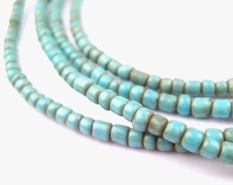 300 Vintage Turquoise Beads - 2 Strands - Blue African Glass Beads - African Seed Beads - Made ...