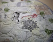 MarveLes PLACEMAT  Round Reversible Quilted Table Topper Christmas Winter Silver Gray White Cardinal Skate Sled Mitten Snowflake Print