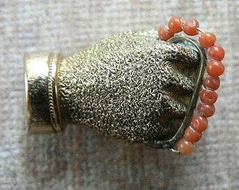 Stunning Victorian Gloved Florentine Hand Brooch Holding a Coral Bead Chain