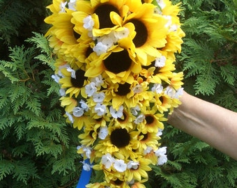 Cascading or Waterfall Sunflower Bouquet, Yellow and Blue Wedding Flowers, Rustic Woodland Bridal Arrangement