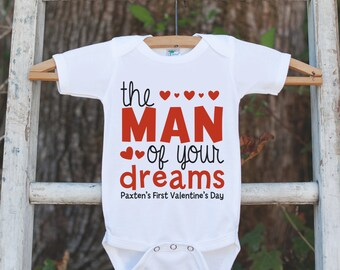 Boys Valentines Day Outfit - The Man of Your Dreams Valentines Onepiece - Boys 1st Valentine Bodysuit - First Valentine's Day - Red Hearts