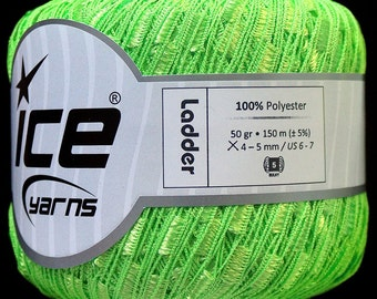 ice ladder ribbon yarn trellis Phosphoric Green 1 skein knitting crochet daily bulky chunky 31360
